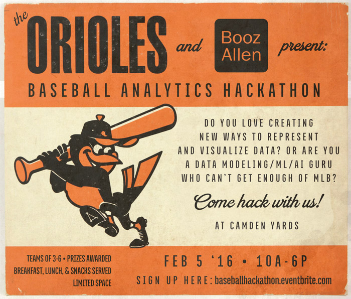 Flyer advertising the 2016 Orioles baseball hackathon