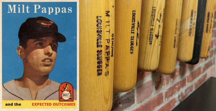 Milt Pappas' baseball card, his bat amongst other Oriole bats