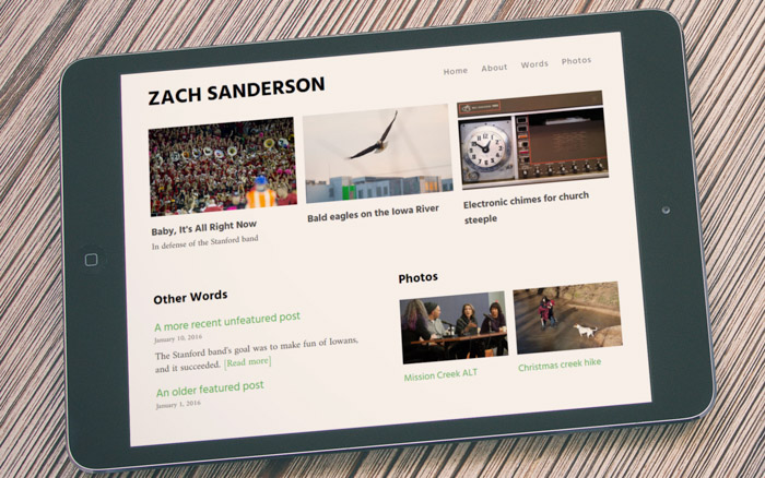 New Zach Sanderson homepage on an iPad